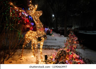 shiny Christmas deer outside. Christmas decorations at night. Copy space for your text