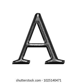 Shiny chrome metal style uppercase or capital letter A in a 3D illustration with a rough chiseled texture and dark silver finish in a classic font isolated on a white background with clipping path.