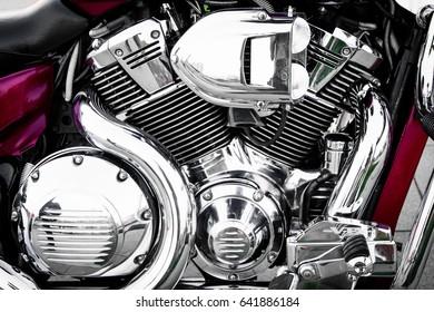 Shiny chrome motorcycle engine block.