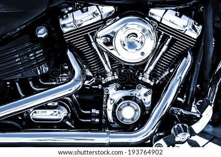 Shiny chrome motorcycle engine