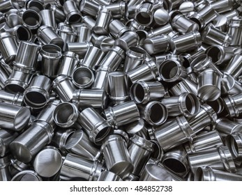 Shiny cold deformated cylindrical steel parts background