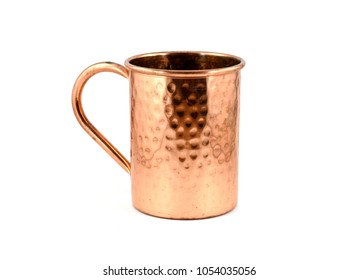 Shiny copper Moscow Mule mug with handle - isolated