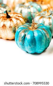 Shiny Decorative Pumpkins. Halloween decorations.  trendy holiday concept.