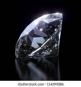 Shiny diamond on black background - clipping path