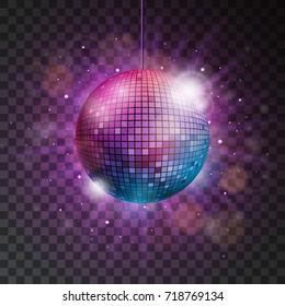 shiny disco ball illustration on a transparent background.