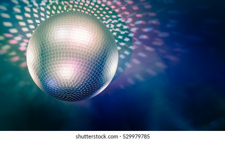 Shiny disco ball and light reflections in background. 3D rendered illustration.