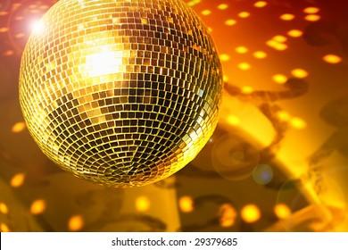 Shiny disco ball on night club close up