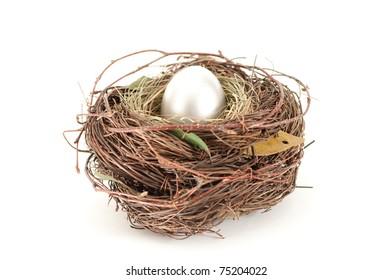 Shiny egg in nest isolated on white
