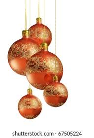 Shiny elegant christmas decoration isolated on white background.