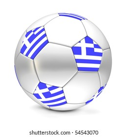 shiny football/soccer ball with the flag of Greece on the pentagons