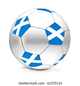 shiny football/soccer ball with the flag of Scotland on the pentagons