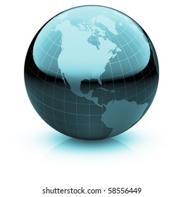 Shiny globe marble with highly detailed continents and geographical grid  facing North America