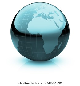 Shiny globe marble with highly detailed continents and geographical grid  facing  Africa and the Atlantic