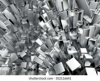Shiny glossy chrome cubic crystal  abstract background 3d rendering