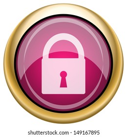 Shiny glossy icon with white design on magenta and gold background
