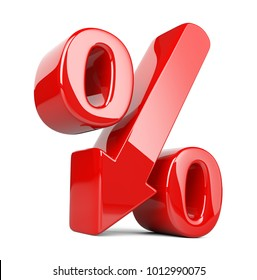 Shiny and glossy percent symbol with arrow down. Ð¡oncept of the decline of the crisis and stagnation in development. 3d illustration isolated over white background, three-dimensional rendering.