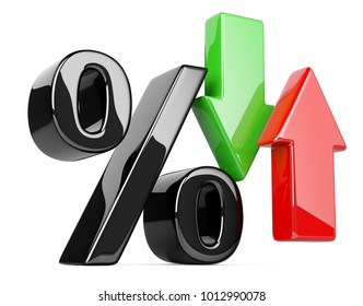 Shiny and glossy percent symbol with an red and green arrow up and down. Bussines growing concept. 3d illustration isolated over white background, three-dimensional rendering.