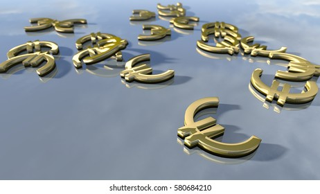 Shiny gold Euro money signs. 3d rendering