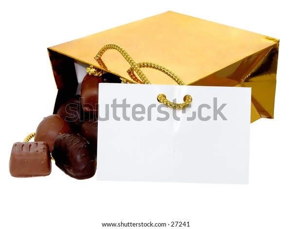 Shiny gold gift bag full of chocolates.  Gift card is facing forward to allow you to add text easily.
