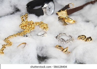 Shiny gold and silver jewelry