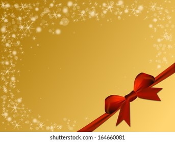 Shiny golden background with red bow and text space