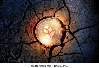 shiny golden BANCOR cryptocurrency coin on dry earth dessert background mining