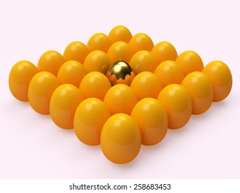 Shiny golden egg among the yellow eggs isolated on white background