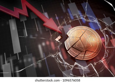shiny golden EOS cryptocurrency coin broken on negative chart crash baisse falling lost deficit 3d rendering