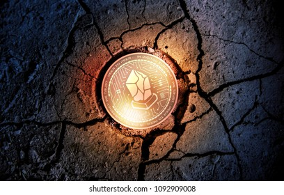 shiny golden LISK cryptocurrency coin on dry earth dessert background mining 3d rendering illustration