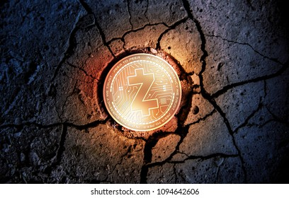 shiny golden Z-CASH cryptocurrency coin on dry earth dessert background mining 3d rendering illustration