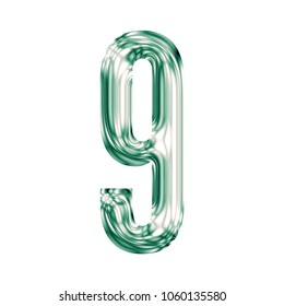 Shiny green glass number nine 9 in a 3D illustration with a smooth clear vintage color green glass effect and gothic font isolated on a white background with clipping path.