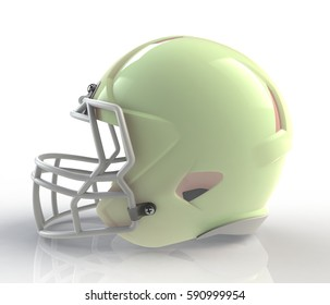 Shiny green wax american football helmet side view on a white background with detailed clipping path, 3D rendering