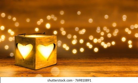 shiny hearts in romantic wooden room with bokeh lights