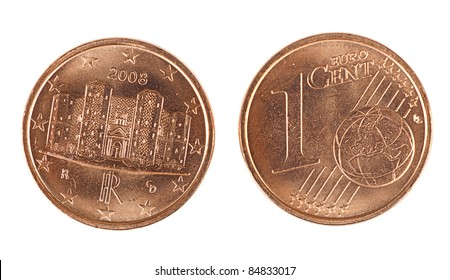 Shiny Italian one Euro cent coin - front and back, isolated over white