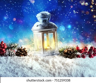 Shiny lantern on a Christmas background during the night