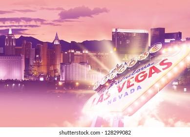 Shiny Las Vegas Background. Ultraviolet Vegas Background Theme with Las Vegas City Entrance Sign. Las Vegas, Nevada, USA. Famous Places Photo Collection.