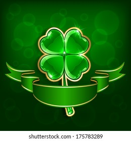 Shiny leaf of a clover with ribbon on green background, illustration