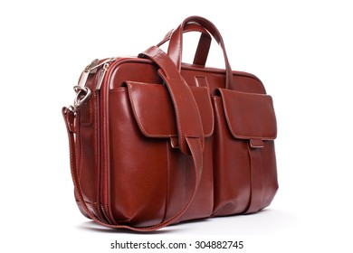 Shiny Leather Briefcase with Pockets isolated on white