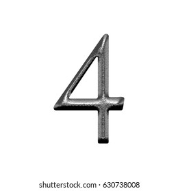 Shiny metal chiseled silver number four 4 in a 3D illustration with a rough chrome metallic texture and antique bookletter font isolated on a white background