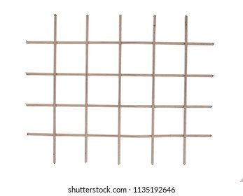 Shiny metal grid, squares forming grille, bars isolated on white background