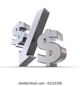 shiny metal percentage symbol with an arrow down, zero replaced by dollar symbols