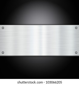 Shiny metal plate on a carbon fibre background