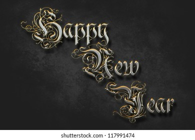 """Shiny and metallic """"Happy New Year"""" text digitally generated on a dark and textured background, with a soft vignetting effect to focus attention on the text."""