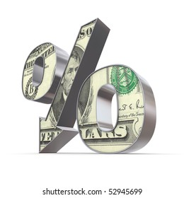 shiny metallic percentage symbol with an arrow down - front surface textured with a 5 Dollar note