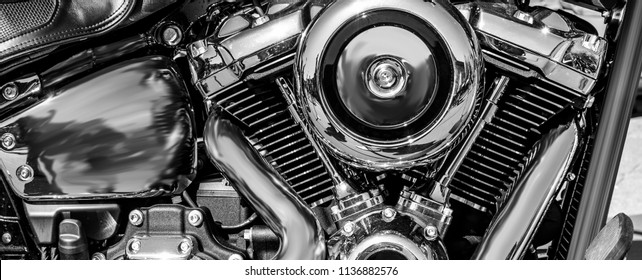 a shiny motorcycle engine