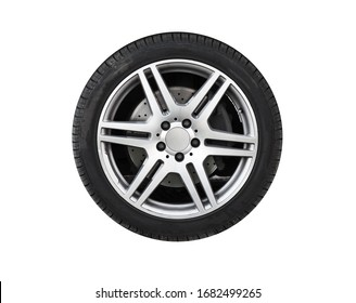 Shiny new car wheel isolated on white background