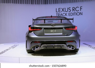 Shiny new silver Lexus RCF Track Edition in Geneva International Motor Show (GIMS), Geneva Switzerland March 2019. Car full of modern technology, powerful V8 engine and beautiful design. Color image.