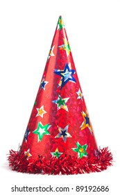 Shiny party hat on white background