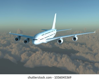 Shiny passenger plane flying on a background of clouds. 3D illustration