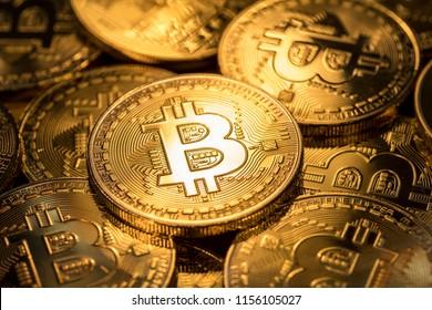 Shiny physical bitcoins. Blockchain technology.